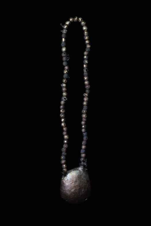 necklace, 2018 bronze, hand-dyed hemp rope